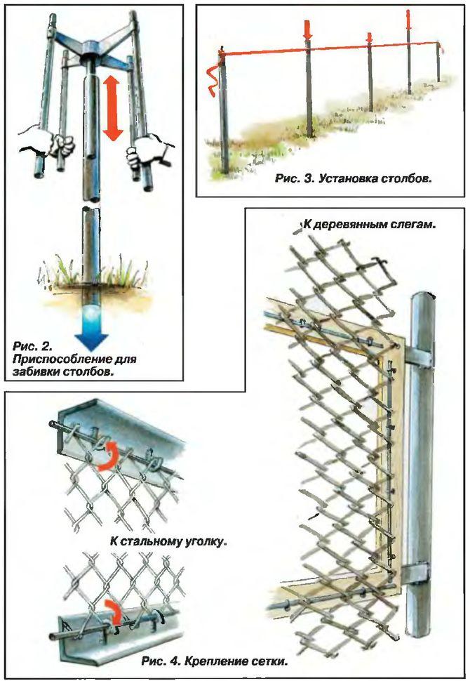 Как сделать забор из сетки своими руками