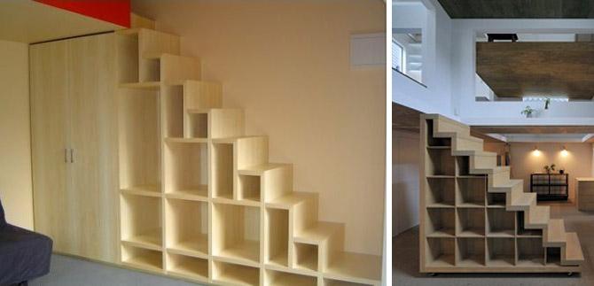 Лестница как место для хранения вещей